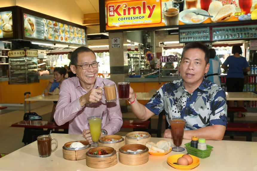Kimly executive director Vincent Chia (left) and executive chairman Lim Hee Liat. Kimly said the suspension is also pending updates on a recent acquisition by the company and on the group's unaudited full-year results.