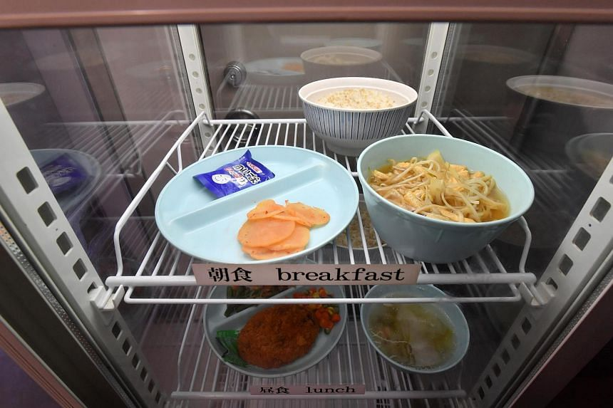 Breakfast and lunch in a fridge at the Tokyo Detention Center in Tokyo, Japan.