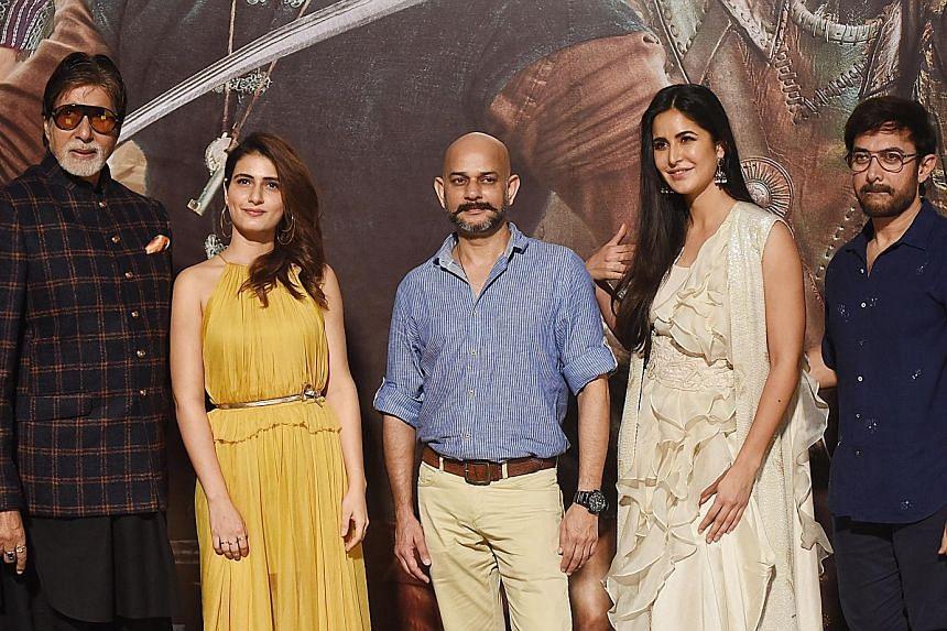 Director Vijay Krishna Acharya (centre) with actors (from far left) Amitabh Bachchan, Fatima Sana Shaikh, Katrina Kaif and Aamir Khan at the trailer launch event for Thugs Of Hindostan in Mumbai in September.