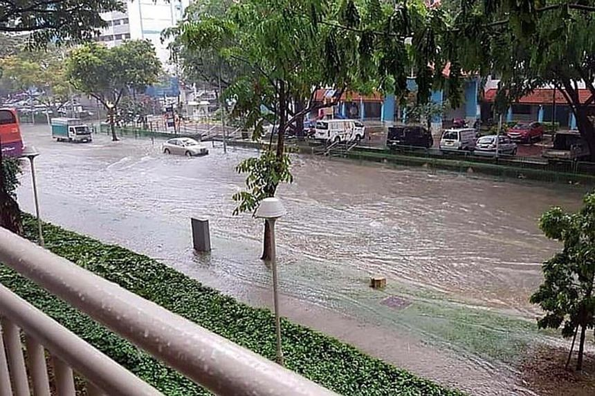 A photo of a flooded street in Geylang on Nov 11.