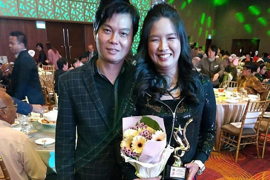 Last month, Ms Thong, seen here with husband Brian Lim, won the Exemplary Young Mother Award given out by Jamiyah Singapore, a charity. She said she is honoured by the award and is grateful for all the support she has received - even from strangers.
