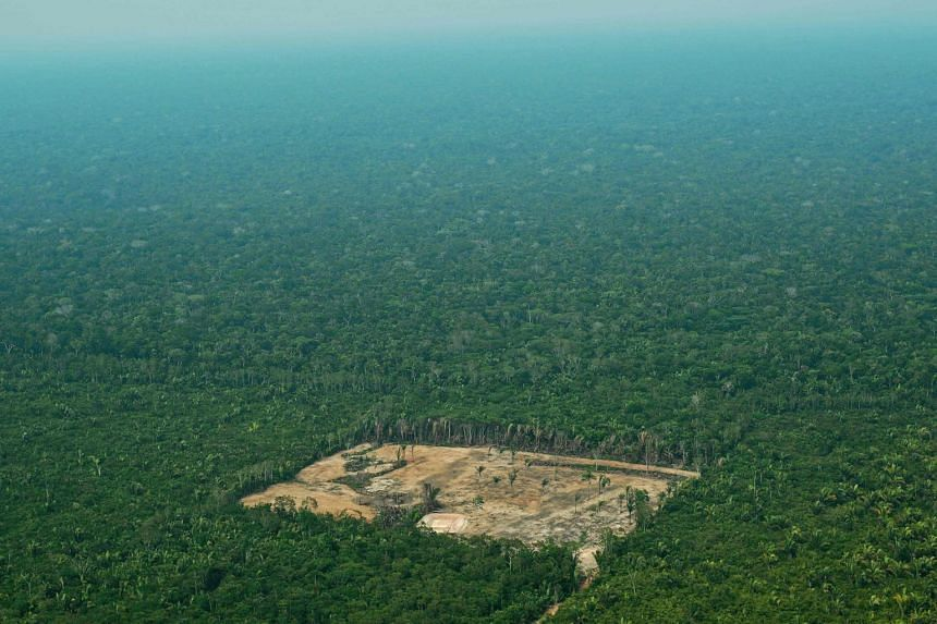 An aerial view of deforestation in the Western Amazon region of Brazil, on Sept 22, 2017.