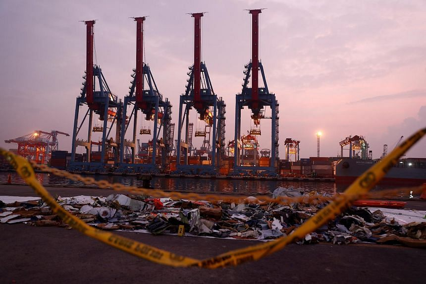 Recovered aircraft debris from the crashed Lion Air flight JT610 laid out at the Tanjung Priok port in Jakarta, Indonesia on Nov 1, 2018.