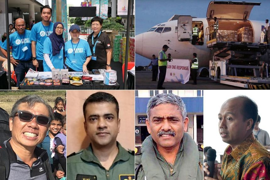 (Clockwise from top left) Mercy Relief; the Asean Coordinating Centre for Humanitarian Assistance on Disaster Management; Dr Sutopo Purwo Nugroho, spokesman for Indonesia's National Agency for Disaster Management; Indian Navy helicopter pilots P. Raj