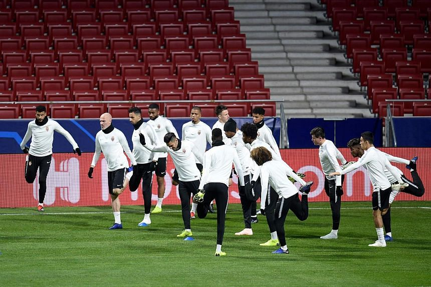 Monaco's players take part in a training session on the eve of the Uefa Champions League group A football match between Atletico Madrid and Monaco.