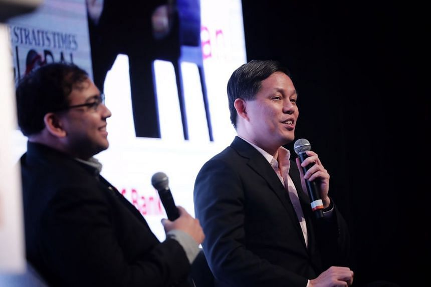 ST news editor Zakir Hussain (left) with Trade and Industry Minister Chan Chun Sing at The Straits Times Global Outlook Forum on Nov 28, 2018. Mr Chan said that Singaporeans must develop a sense of collective responsibility.