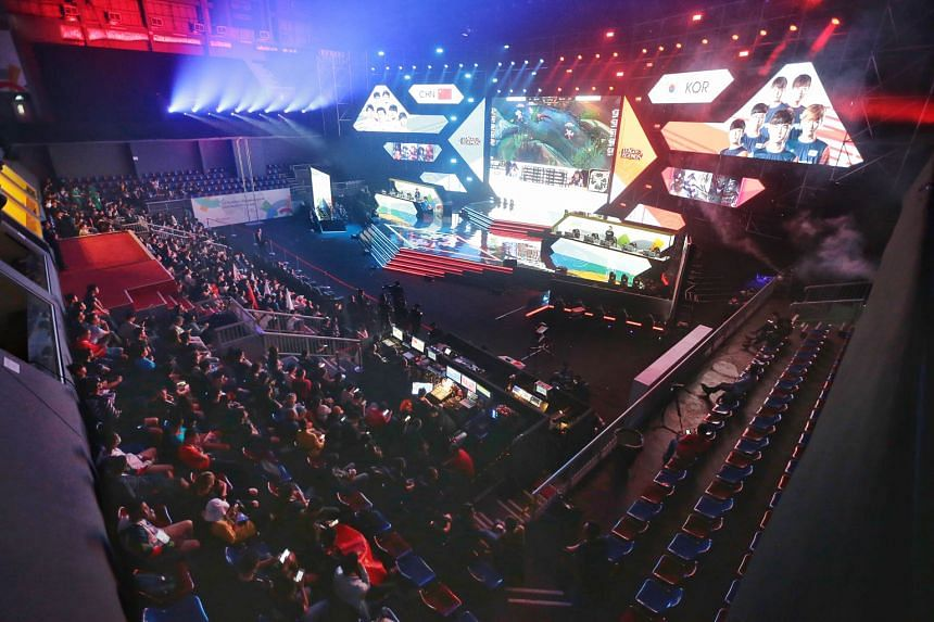 Teams from China and Korea competing in the League of Legends game during the e-sports demonstration event at the Asian Games in Jakarta in August. E-sports has been included for next year's SEA Games.