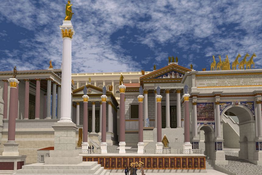 Users of the Rome Reborn virtual reality tour viewing digital reconstructions of the ancient city of Rome, featuring more than 7,000 buildings and monuments (above) from AD320.