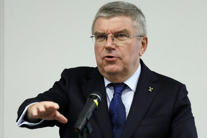 Thomas Bach, President of International Olympic Committee speaks to staff of the Tokyo 2020 Olympic Committee as he meets the committee staff in Tokyo on Nov 28, 2018.
