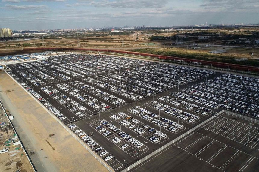 New BMW cars lined up at a factory in Shenyang in China's north-eastern Liaoning province on Oct 11, 2018.