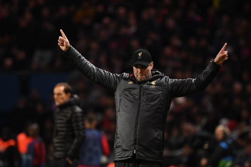 Liverpool's German coach Jurgen Klopp reacts during the Uefa Champions League Group C football match between Paris Saint-Germain and Liverpool FC at the Parc des Princes stadium, in Paris, on Nov 28, 2018.