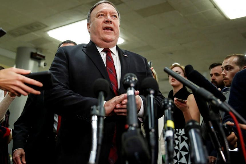 United States Secretary of State Mike Pompeo speaks to the media after a closed briefing for senators about the latest developments related to the death of Saudi journalist Jamal Khashoggi on Capitol Hill in Washington on Nov 28, 2018.