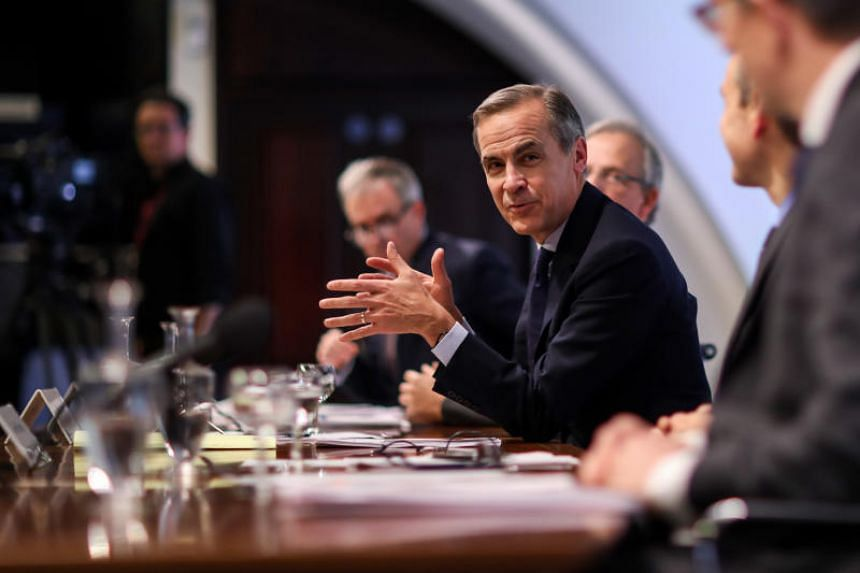 Mark Carney, governor of Bank of England, gestures while speaking during the Financial Stability Report news conference at the central bank in the City of London, on Nov 28, 2018.