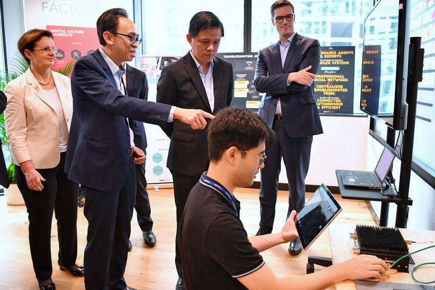 (From left) Thales' senior executive vice-president of international development Pascale Sourisse, Thales Singapore CEO Kevin Chow, Minister for Trade and Industry Chan Chun Sing and Thales' vice-president of digital transformation Olivier Flous tour