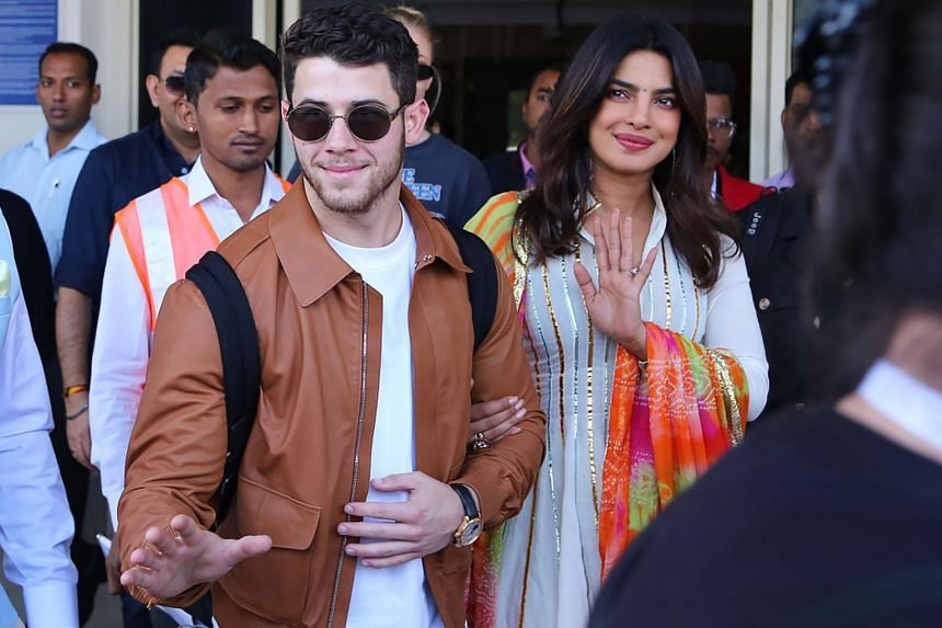 US musician Nick Jonas and Indian actress Priyanka Chopra arrive in Jodhpur, in the western Indian state of Rajasthan, on Nov 29, 2018.