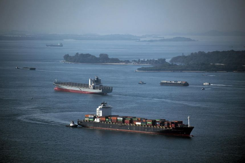 File photo of container ships in the south of Singapore.