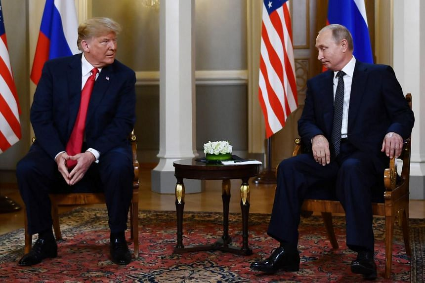 US President Donald Trump and Russian President Vladimir Putin at a meeting in Helsinki, on July 16, 2018.