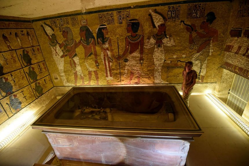 File photo of the golden sarcophagus of King Tutankhamun, displayed in his burial chamber in the Valley of the Kings, close to Luxor, 500km south of Cairo.