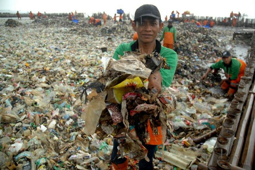 "Indonesia's marine waste problem has become so bad that officials last year declared a ""garbage emergency"" after a stretch of coast in Bali was swamped with rubbish."
