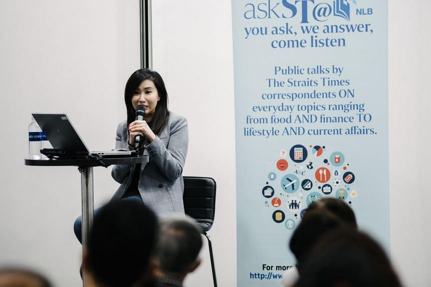 The Straits Times food writer Rebecca Lynne Tan speaking at an askST@NLB session at the Central Public Library on Nov 30, 2018.