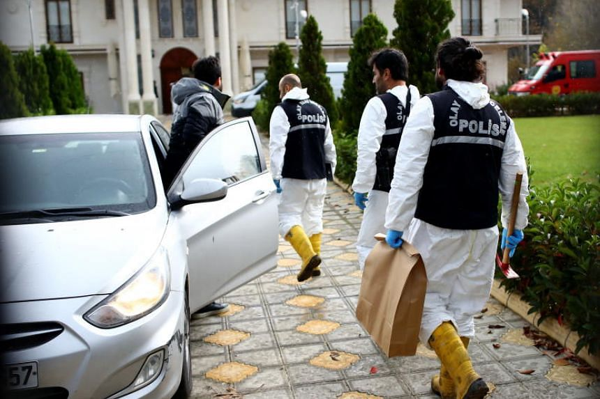 Turkish forensics officers investigate a site at a villa in Yalova city, Turkey, on Nov 26, 2018. They are looking for evidence to find the dead body of Jamal Khashoggi who was killed in Saudi Consulate in Turkey on Oct 2, 2018.