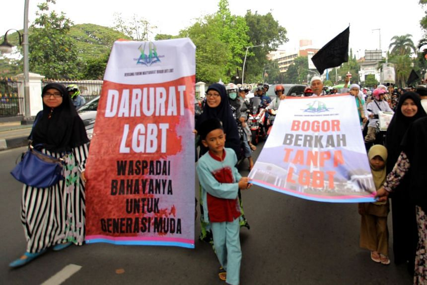 Anti-LGBT demonstrators marching in Bogor, outside the capital Jakarta on Nov 9, 2018. Anti-LGBT demonstrations have erupted in several cities recently, including the capital Jakarta.