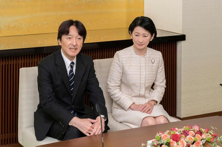 Prince Akishino (left), seen here with his wife Princess Kiko, will become crown prince in 2019 when his brother Crown Prince Naruhito takes over as emperor.