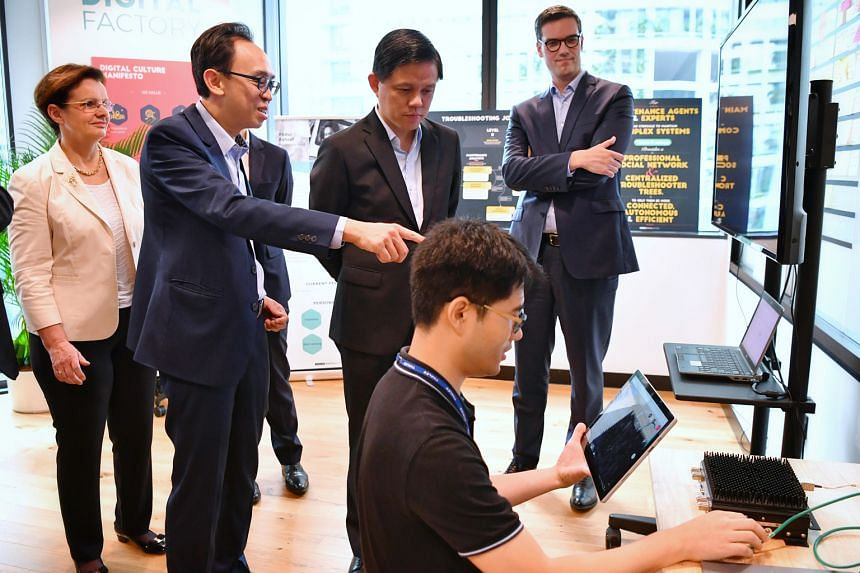 From far left: Thales' senior executive vice-president of international development Pascale Sourisse; Mr Kevin Chow, CEO of Thales in Singapore; Minister for Trade and Industry Chan Chun Sing; and Thales' vice-president of digital transformation Oliv