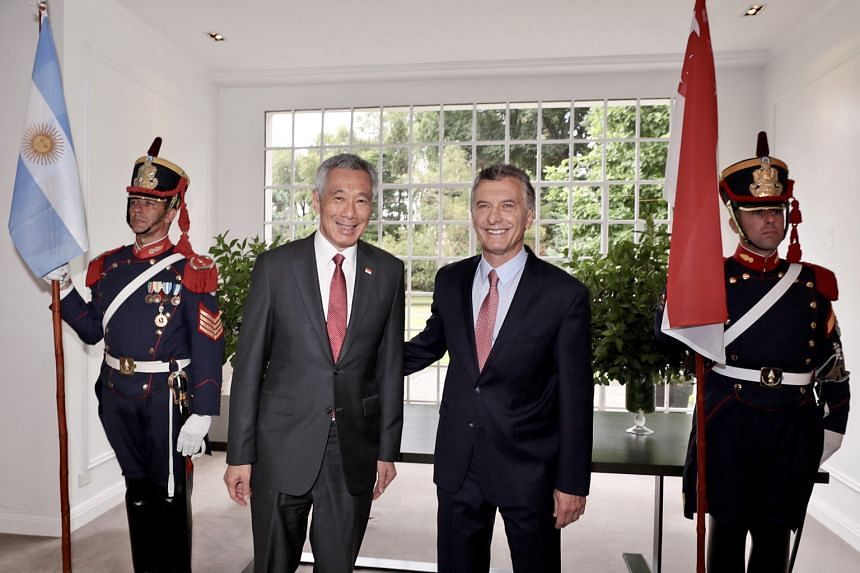 Above: Prime Minister Lee Hsien Loong with Argentinian President Mauricio Macri at Quinta de Olivos, the President's official residence.