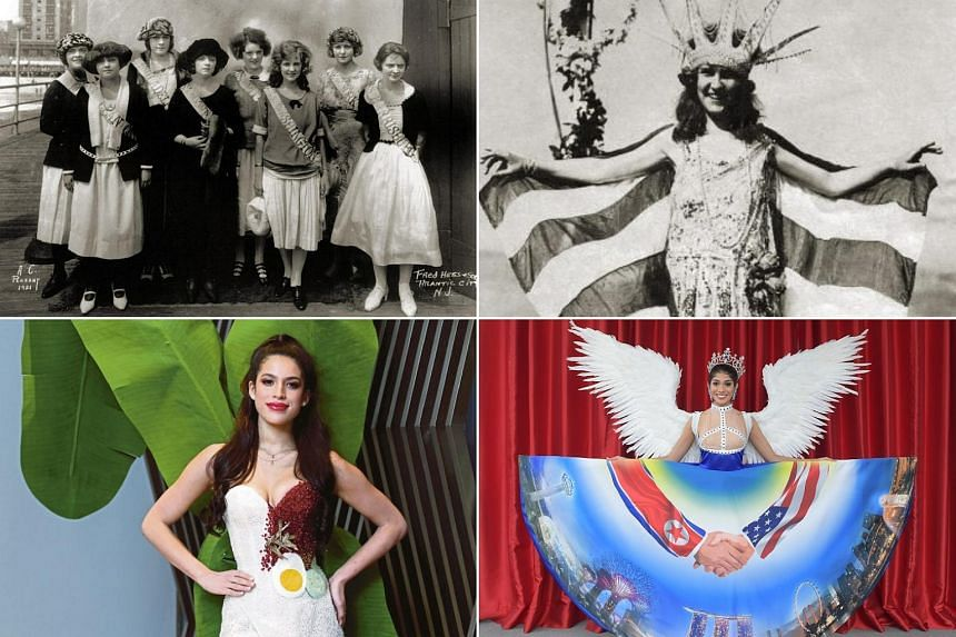 """(Clockwise from top left) The winners of a 1921 """"Inner-City Beauty contest"""", Miss America 1921 Margaret Gorman, Miss Universe Singapore 2018 Zahra Khanum and Miss Universe Malaysia 2017 Samantha Katie James. PHOTOS: MISS AMERICA, THE NEW STRAITS TIME"""