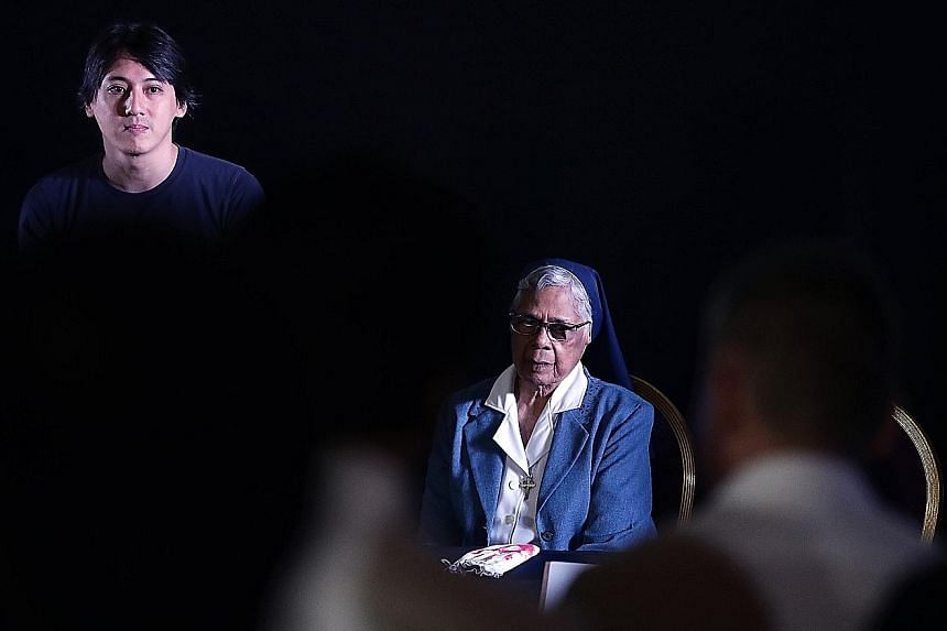 Director Chai Yee Wei and Sister Gerard Fernandez (both above) at a question-and-answer session for the screening of Sister on Thursday. Also present were Madam Rosie Wong and film-maker K. Rajagopal (both above left).