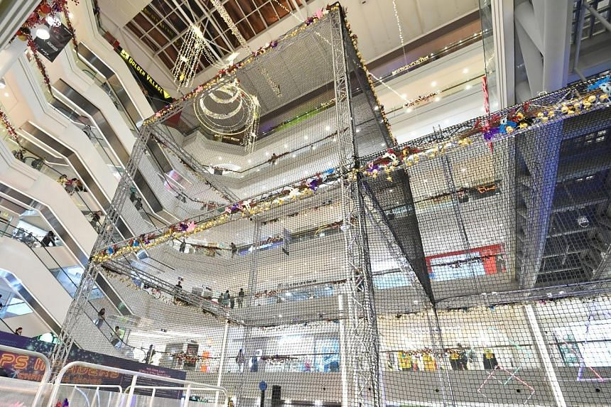 Much of the action will take place at the 12m-high drone cage in the atrium of Plaza Singapura.