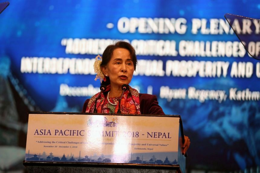 """Myanmar's civilian leader Aung San Suu Kyi called for """"a culture of peace"""" to end conflict between communities, wiithout mentioning the Rohingya crisis."""