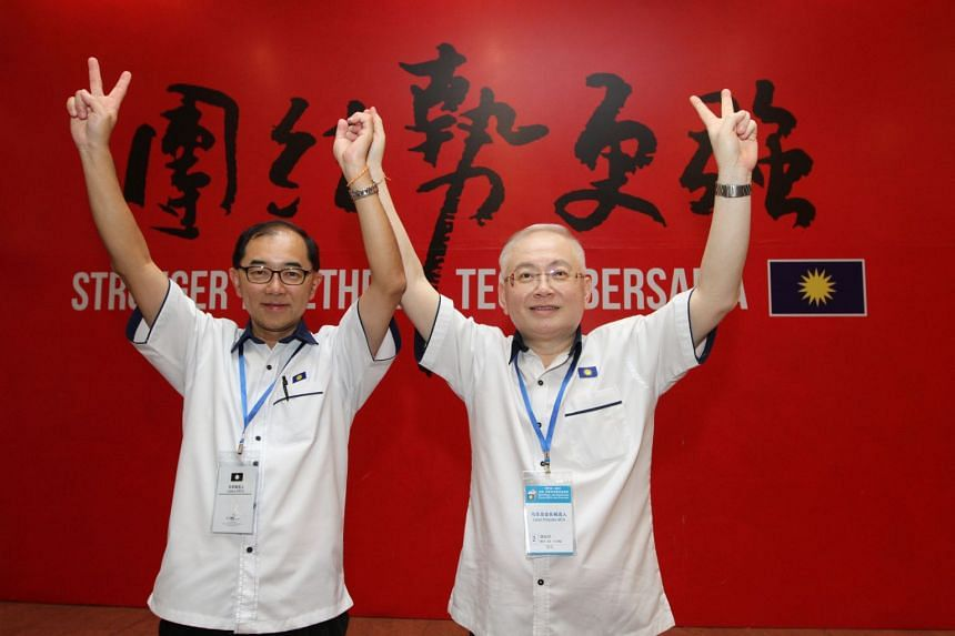 The Malaysian Chinese Association's president Wee Ka Siong (right) and deputy president Mah Hang Soon after being elected on Nov 4, 2018.