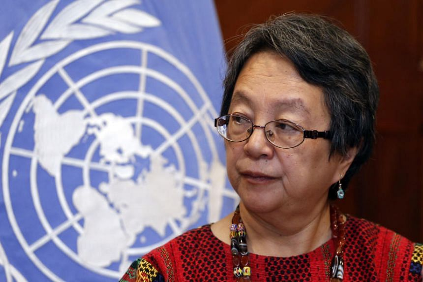 UN special rapporteur on rights of indigenous people Victoria Tauli-Corpuz presents results after a ten-day visit to Ecuador, at a hotel in Quito, on Nov 29, 2018.