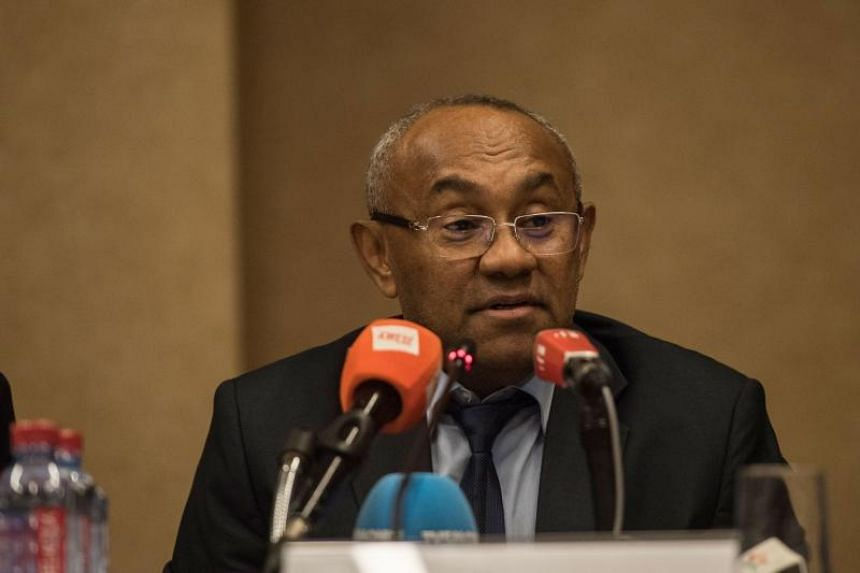 President of the Confederation of African Football Ahmad Ahmad at a press conference after an extraordinary meeting with CAF executives at the Kempinski Hotel in Accra on Nov 30, 2018.