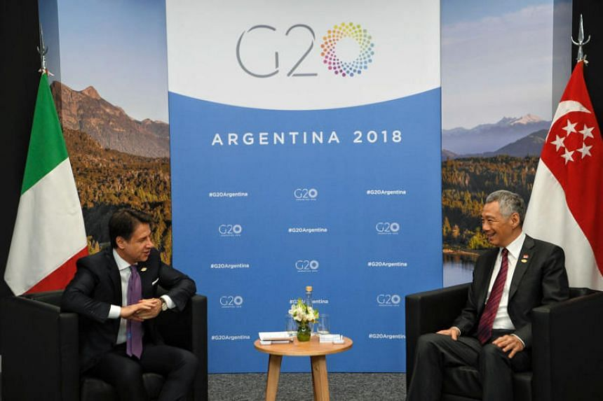 Prime Minister Lee Hsien Loong meets Italian prime minister Giuseppe Conte on the sidelines of the Group of 20 summit in Buenos Aires on Dec 1, 2018.