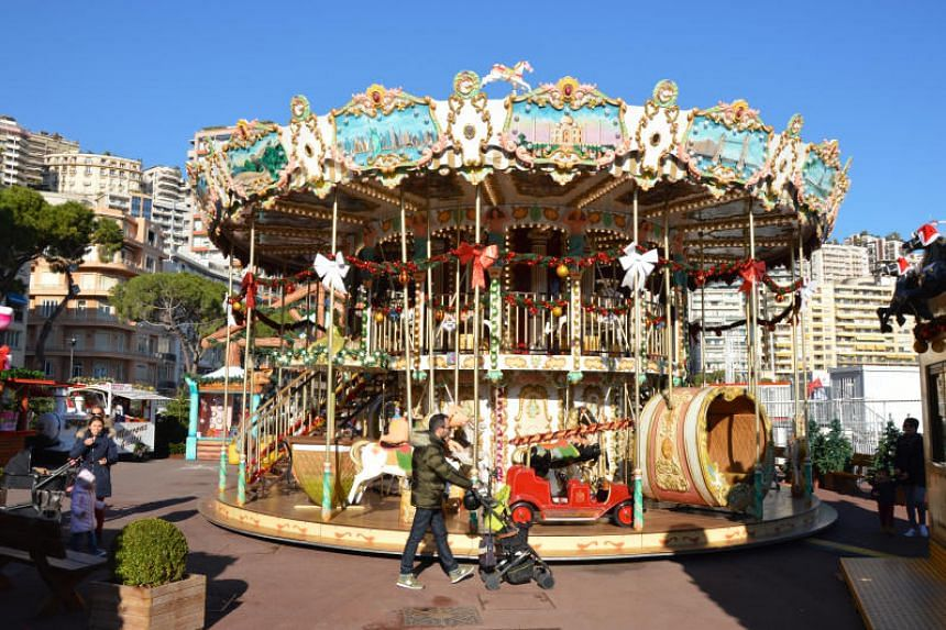 Kids will be entertained at the Christmas market along Monaco's Port Hercule waterfront.