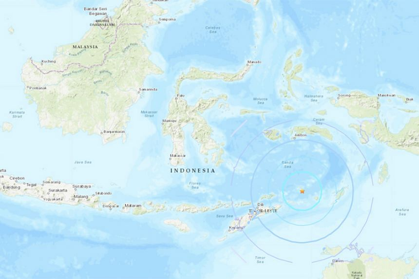 The US Geological Survey recorded the quake as centred at sea 279 kilometres west of the town of Saumlaki in Indonesia's remote Tanimbar Islands.