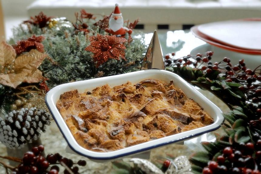 Brandy panettone pudding with cinnamon sugar.
