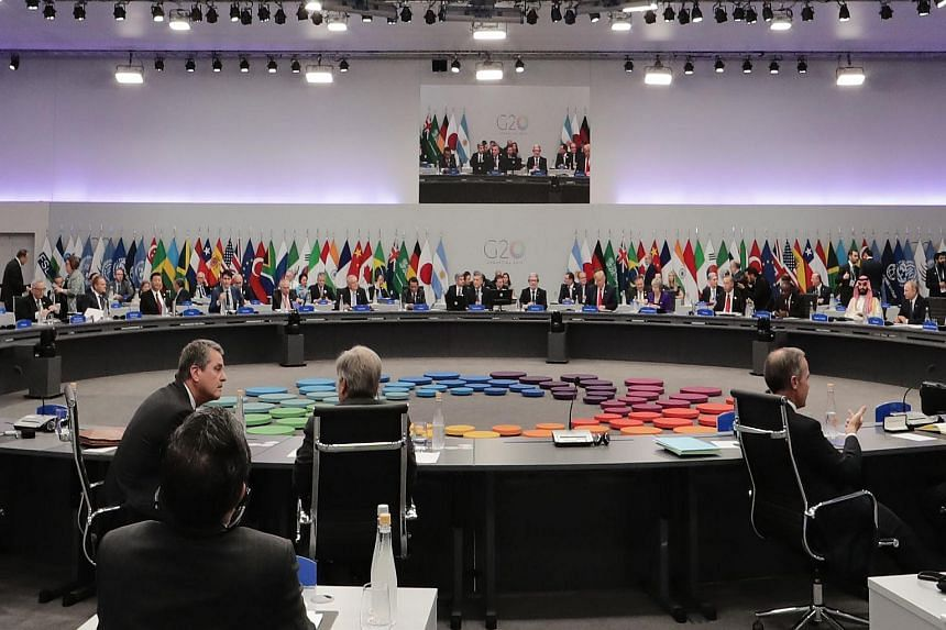 General view of the plenary hall prior to the opening of the G-20 Summit in Buenos Aires, on Nov 30, 2018.
