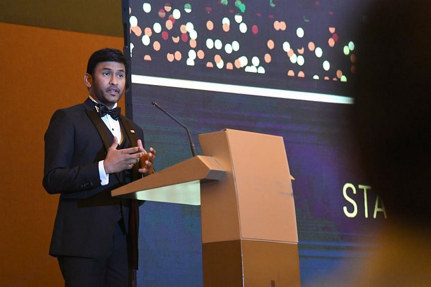 Security Association of Singapore president Raj Joshua Thomas speaking at the Security Industry Annual Gala at the Resorts World Convention Centre on Nov 30, 2018.