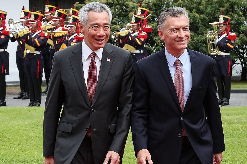 Argentina's President Mauricio Macri welcomed PM Lee Hsien Loong on his arrival in Buenos Aires last Thursday.