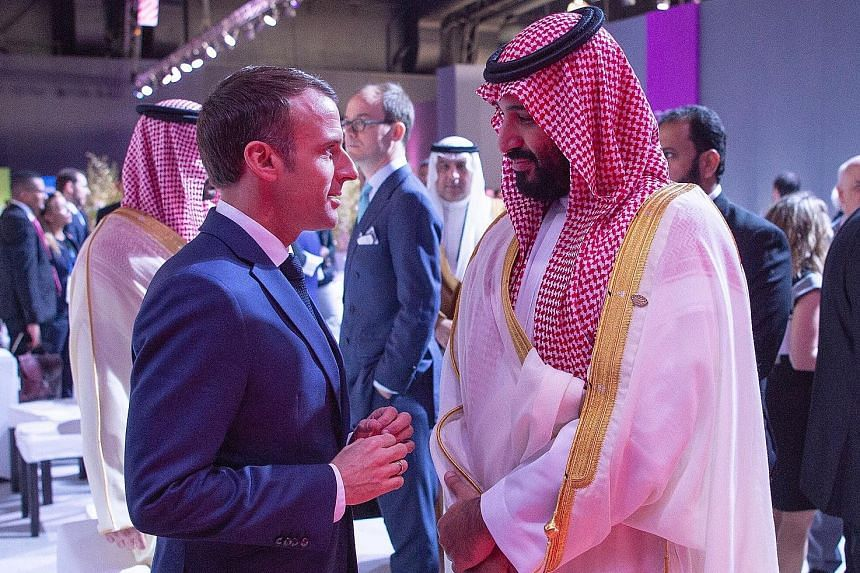 A microphone captured fragments of the dialogue between Saudi Crown Prince Mohammad Bin Salman and French President Emmanuel Macron when they met on the sidelines of the summit. The Crown Prince told Mr Macron not to worry, but the French president r