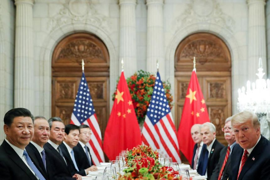US President Donald Trump and Chinese President Xi Jinping attend a working dinner after the G-20 leaders summit in Buenos Aires, Argentina, on Dec 1, 2018.