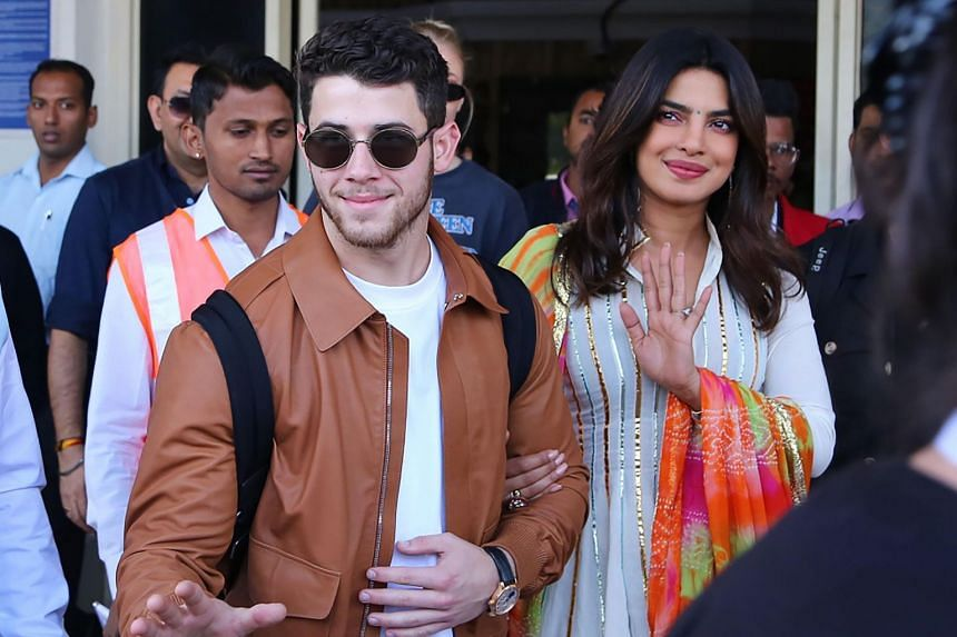 Indian actress Priyanka Chopra and US musician Nick Jonas arrive in Jodhpur, Rajasthan, on Nov 29, 2018.