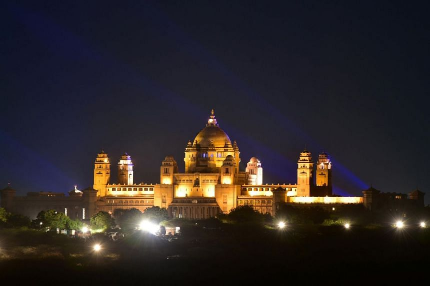 The Umaid Bhawan Palace, the venue for the wedding of actress Priyanka Chopra and singer Nick Jonas, is seen in Jodhpur, Rajasthan, on Nov 30, 2018.
