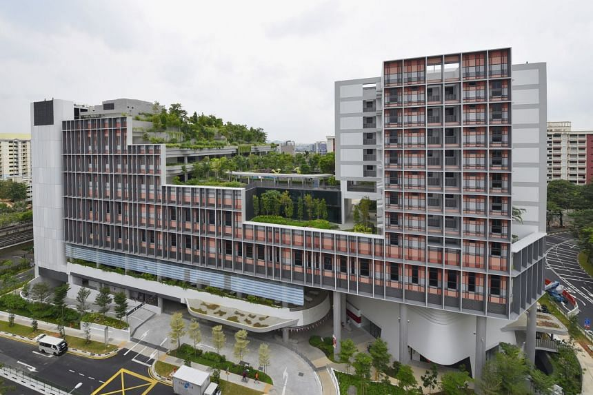 The 11-storey Kampung Admiralty is the first Housing Board project to co-locate childcare and senior centres in one integrated development, aimed at encouraging inter-generational bonding.
