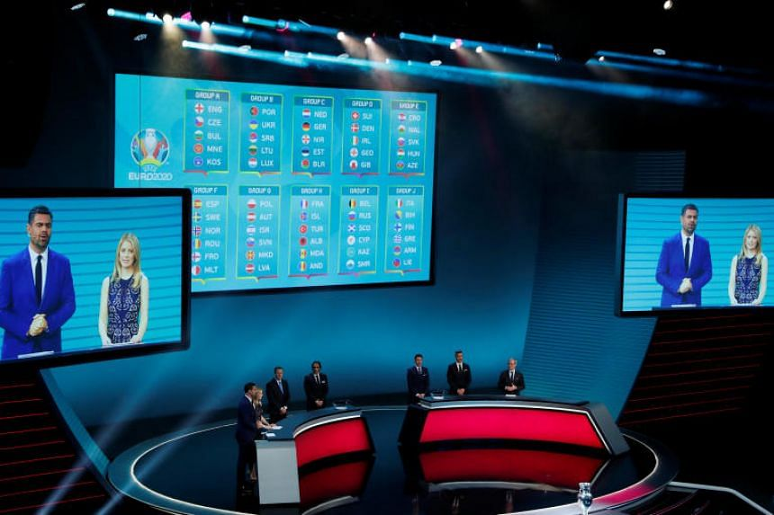 The groupings for the Euro 2020 tournament are seen during the qualifying draw, in Dublin, Ireland, on Dec 2, 2018.