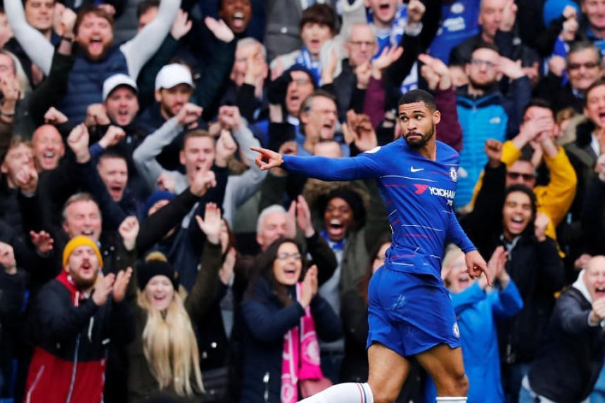 Chelsea's Ruben Loftus-Cheek celebrating after scoring his team's second goal during their EPL match against Fulham on Dec 2, 2018.